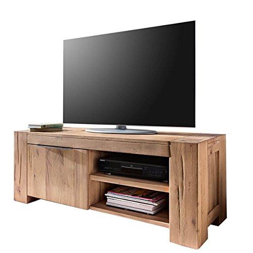 TV Lowboard Fernsehschrank Unterschrank Granby 130 Cm, Massivholz Holz  Eiche Massiv Balkeneiche Natural, Breite 130 Cm, Tiefe 48 Cm, Höhe 50 Cm
