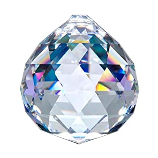 Asfour Crystal-701 Klar Crystal Ball Prism, 50 mm, 1 Loch, Box mit 12 Stück