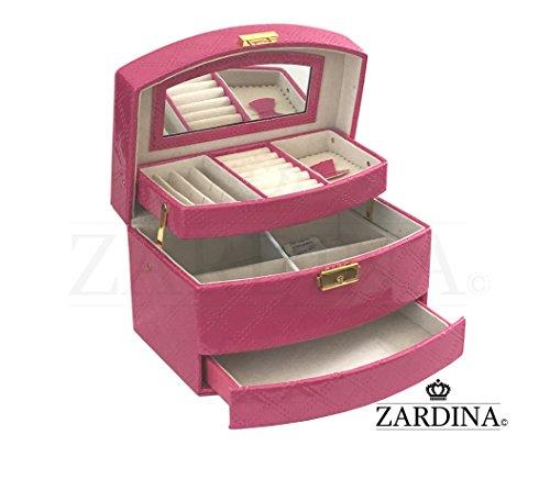 victoria-premium-faux-pu-leder-schmuck-make-up-aufbewahrung-organizer-glossy-pink