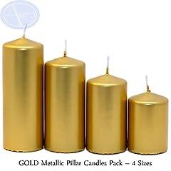 Idea Regalo - Aura oro metallizzato candele confezione-4taglie (50mm di larghezza)