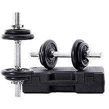 SONGMICS Juego de mancuernas ajustables de hierro fundido, con Caja de transporte, 10KG, 15KG, 20 KG, para hombres y mujeres, Entrenamiento de fitness, ...