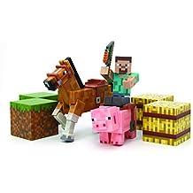 Minecraft - Pack Steve con caballo, cerdo y accesorios (Giochi Preziosi 16586)