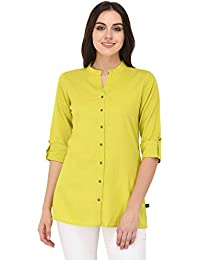 Pistaa Women's Lime Green Solid Cotton Short Top Kurti