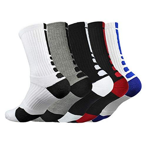 Litthing Sportsocken Rutschfeste Socken Herren Baumwolle Dicke, Deodorant Atmungsaktive Sportsocken für Fußball basketball Yoga Handball Trekking Laufen Radfahren Verdickung Strümpfe (5)