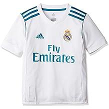 adidas H JSY y Camiseta 1ª Equipación Real Madrid 2017-2018, Niños, Blanco (Azuint), 164