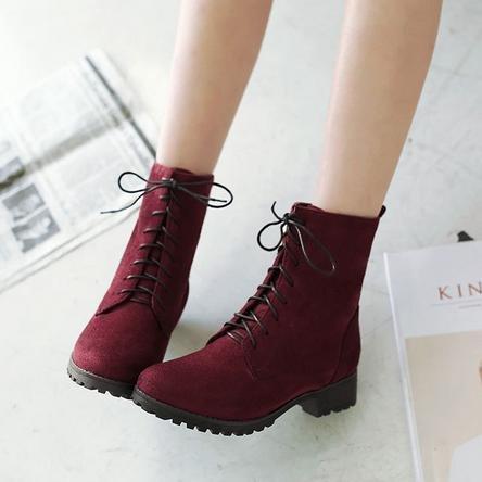 &ZHOU femmina adulti 'Boots autunno e l'inverno stivali brevi Martin stivali Cavaliere stivali A38 Red