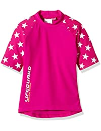 Smiling Shark Babies UPF 50 Plus Ultraviolet Short Sleeves Top and Shorts - Pink, Size 110