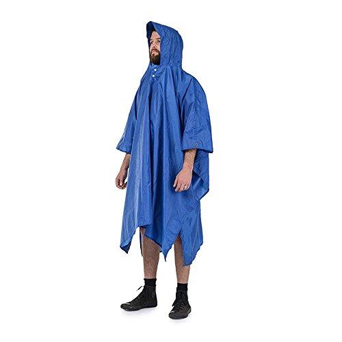 Waterproof Rain Poncho von, Packable Lightweight Regenmantel für Männer und Frauen, Hooded Regenschutz mit Notfall Grommet Ecken für Shelter Einsatz, Fast Dry Regenmantel Slicker für Wandern, Long Tra , blue (Regenschutz Slicker)