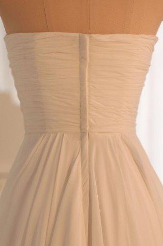 Lemandy robe de soirée mousseline col en coeur longueur ras du sol Ivoire