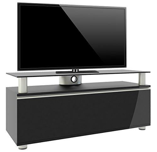 VCM 14245 Clano Meuble TV avec Porte Pliante + Roulettes Incluses MDF/Aluminium/Verre Laqué Noir/Noir