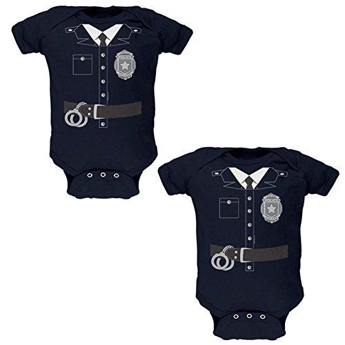 Halloween Zwillinge Gute Cop Bad Cop Kostüme weiche Zwillinge Baby One Piece Navy 9-12 M