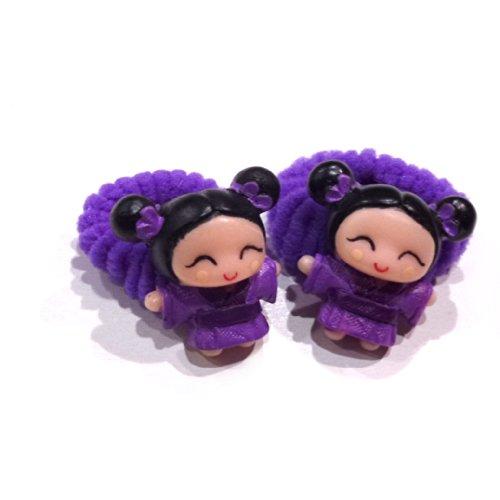 rougecaramel - Accessoires cheveux - Elastique/mousse enfant poupe 2pcs - violet