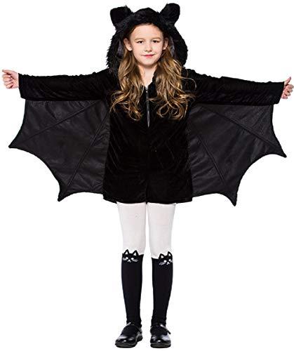 Miscoloor Fledermaus Kapuzen Cape Halloween Kostüm für Kinder Fledermaus Cosplay Kleidung gruselige Party Kostüm Geschenk-Idee Overalls Mit Cape Größe (Kinder Selbstgemachten Superhelden Kostüm)