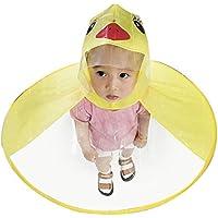 BaZhaHei, niños Paraguas Sombrero mágico Manos Libre Impermeable UFO para niños Little Chubasquero Gorro de Lluvia con Capucha y Capucha para niños, diseño de Pato, Plegable Amarillo Amarillo Talla:S