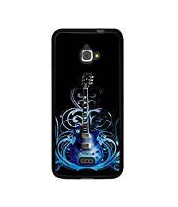 Casotec Guitar In Blue Pattern Design Canvas Printed Soft TPU Back Case Cover for InFocus M350