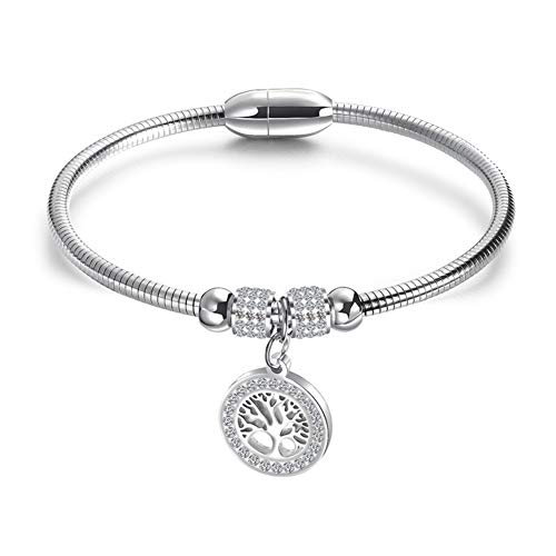TIZIKJ Frauen Classic Pendant Armband Edelstahl Life Baum Stylish Simple European Armband Schmuck Gold/. Silber für Hochzeits-Engagement,Silver