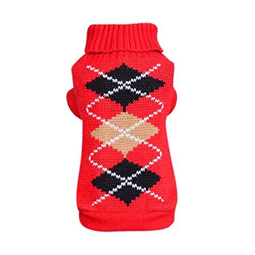 Hunde Kostüm Brot - Savlot Stripe Plaid Pattern Hundepullover Puppy Warm Strickbekleidung Pet Winter Warm Outfit Hund Stricken Kostüm Rollkragenpullover