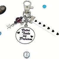Porte clés personnalisable texte ou prénom avec hématite