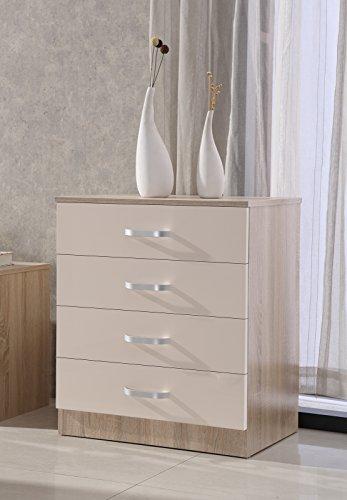 Gladini High Gloss 4 Drawer Chest - Bedroom Furniture (Cream/Oak)