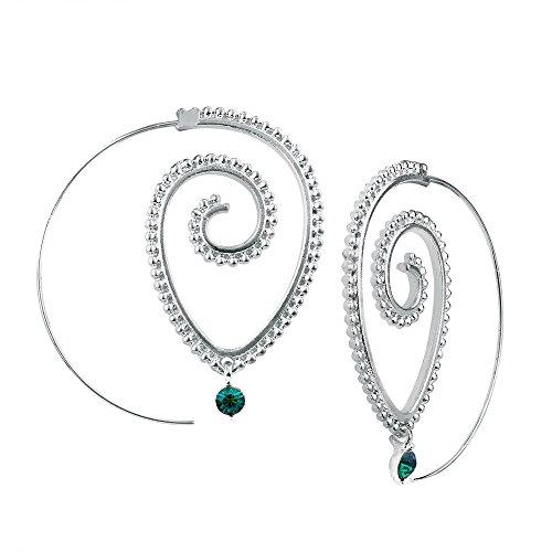WANGLETA Ohrstecker Ohrhänger Geschenkidee für Frauen Whirlpool Zahnradeingriff Ohrringe personalisierte Kreis Spiralbohrer Ohren einfügen Silber