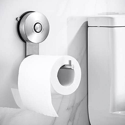 YOHOM Portarrollos de Papel higiénico con Ventosa Dispensador Soporte para Rollo de Papel higiénico y toallero de Acero Inoxidable Acabado Cepillado Baño Accesorios