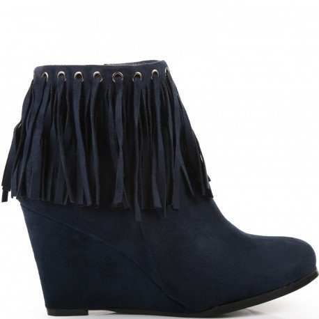 Ideal Shoes - Bottines compensées à franges Cevin Marine