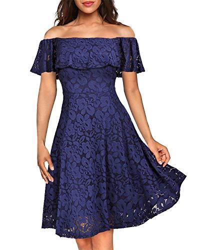 Kidsform Damen Schulterfreies Kleid Elegant Abendkleid Vintage Spitzenkleid Cocktail Party Brautkleider für Hochzeit Ballkleid Rosa L