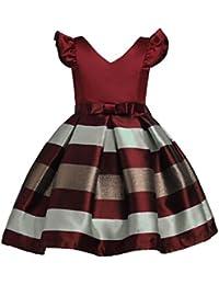 UOMOGO® Bambine Senza Maniche Principessa Abiti Eleganti Bambina Partito  Compleanno Comunione Swing Vestiti da Cerimonia f3eef52ed78