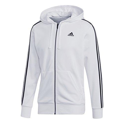 adidas Herren Essentials 3-Streifen Kapuzenjacke White/Black
