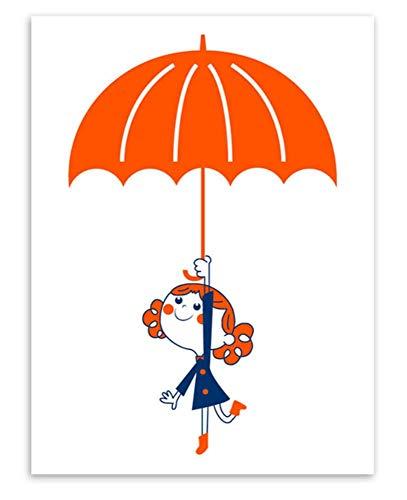 Kawaii Roten Ballon Regenschirm Junge Mädchen Leinwand Kunstdruck Poster Wandbilder Kinder Hochzeit Room Decor Malerei, B 40X50cm