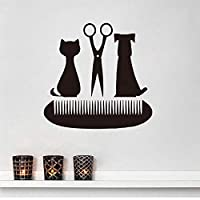 Handaxian Grooming Salon Scissors Comb Wall Decals Pet Shop Decor Cat and Dog Vinyl Wall St59*61cm