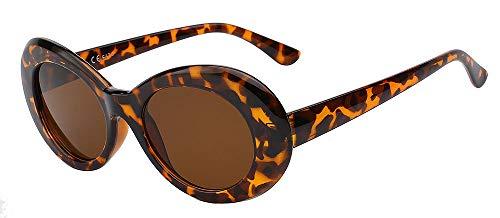 Zbertx New Vintage Sonnenbrille Männer Und Frauen Retro Oval Sonnenbrille Mode Brillen Uv400,Leopard W Brown Lens