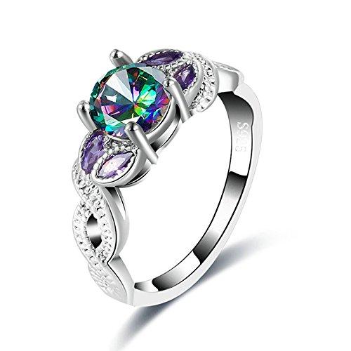 Bishilin Versilbert Damen Ring Silber Infinity Rund Bunte Zirkonia Solitärring Eherring Hochzeitsringe Ring Gr.57 (18.1)