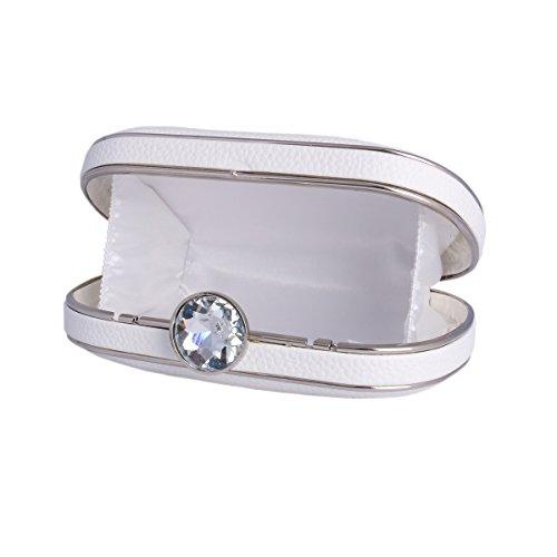 Damara® Damen Abendtasche Zwei Motten Muster Diamant Geschmücktes Schloss Aus PU Leder Blau