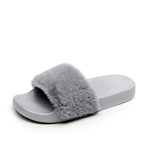 Apika pantofola di pelliccia del faux flop delle donne fuzzy fluffy comfy sliders aprire la punta slip on(eu40 grigio)