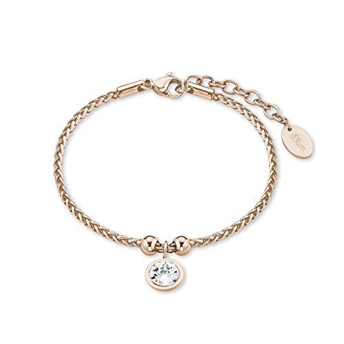 s.Oliver Damen-Armband 17+3 cm IP Rose Zopfmuster Edelstahl Kristall weiß 20 cm 2015164