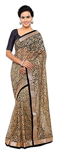Aruna Sarees Women's Brasso Saree with Blouse Piece (Black and Gold)