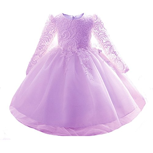 Myosotis510 Mädchen-Spitze-Prinzessin-Hochzeits-Taufkleid-lange Hülse formale Partei-Abnutzung für Kleinkind-Baby-Mädchen (12-24 Monate, Violett) (Designer Taufkleider)