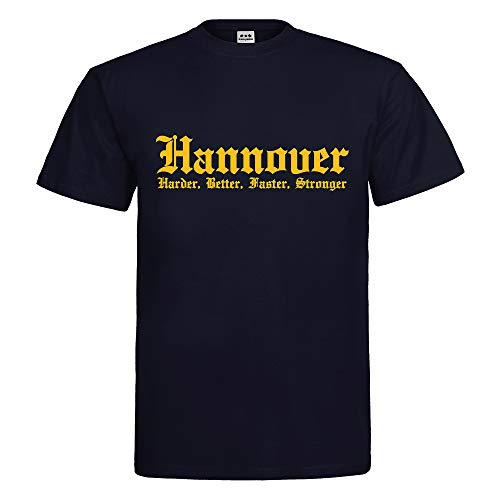 Herren T-Shirt Hannover Harder Better Faster Stronger Stadtname City Textil Navy Motiv gelb Gr. XXXL