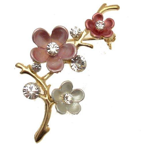 Kostüm Farbige Schmuck Gold - Acosta Jewellery Brosche, Rosa Emaille & Kristall-Klassisch Floral Bouquet Brosche (Gold Farbige)-in Geschenkverpackung