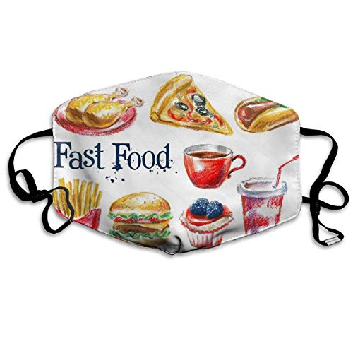 Kleinkind Food Kostüm - liang4268 Mundmasken Fast Food Fashion Earloop Face Masks Anti-Dust Anti Flu Pollenm Germs Bacteria Virus Smog Face and Nose Cover with Adjustable Elastic Strap Medical Mask