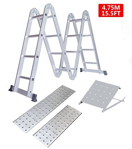 4.7m Multi Purpose Aluminium Folding Ladder with 2 Scaffold Working Plates & 1 Tool Tray