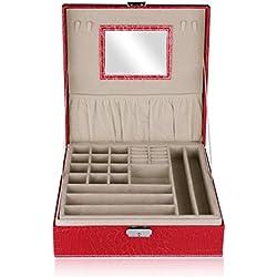 Excelvan Crocodile Pattern Pu Leather Watch Display Box Case Women Watch Storage Box Jewellery Organiser Case Bracelet Bangle Jewellery Display Tray-Red Color