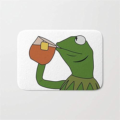 (JIEKEIO Kermit Inspired Meme King Sipping Tea Bathroom Bath Door Mat Rug 23.6(L) X15.7(W) Inch,40cmx60cm)