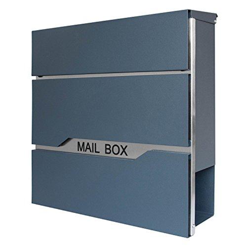 LZQ Neu Typ Zeitlosem Design Edelstahl Briefkasten, Wandbriefkasten mit Zeitungsfach, A4 Einwurf-Format, Abschließbar, Anthrazit (Modell E)