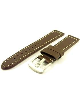 Massives ZeitPunkt-Chrono Lederband dunkelbraun 20mm