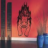 INDIGOS UG - WANDTATTOO / Wandsticker / Wandaufkleber / Aufkleber / Wandsticker w991 Tiger / Löwe - Feuer Tribal Flammen 80x34 cm Glasdekor silber fein