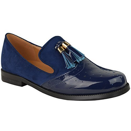 Mujeres Vintage Borla Mocasines Planos Escuela Oficina Zapatos Zapatos Oxford Talla - Azul Marino Gamuza Charol, 38
