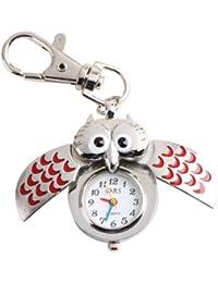 YESURPRISE Silbrig Rot Eule Anhänger Quarz Uhr Taschenuhr Damen Kinder Uhr Geschenk Xmas Gift