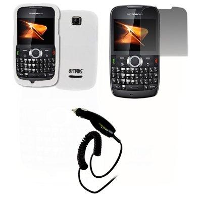 EMPIRE Weiß Gummierte Harte Case Tasche Hülle Cover + Displayschutzfolie Film + Auto Charger (CLA) for Boost Mobile Motorola Theory X430 Boost Mobile Motorola